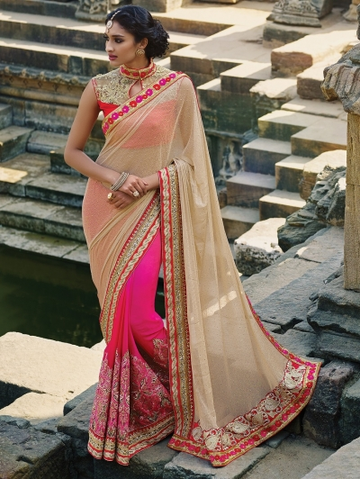 Beige and Pink lycra Wedding saree