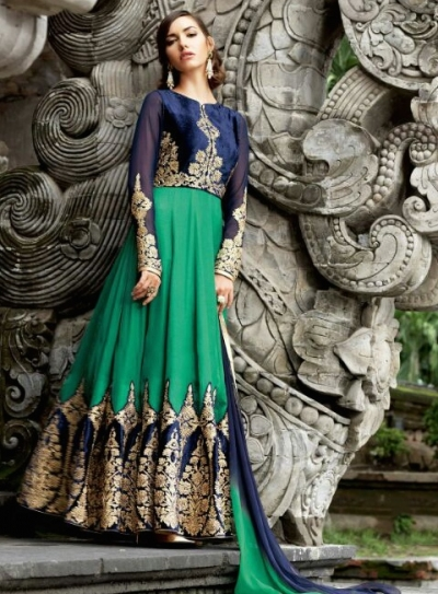Green and blue color velvet and satin party wear anarkali suit