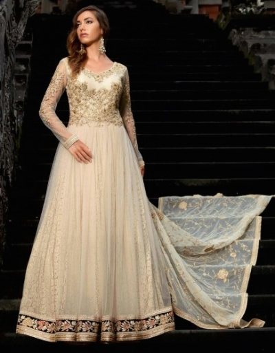 Cream color netted party wear anarkali suit