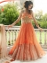 Orange and Beige color netted party wear anarkali suit