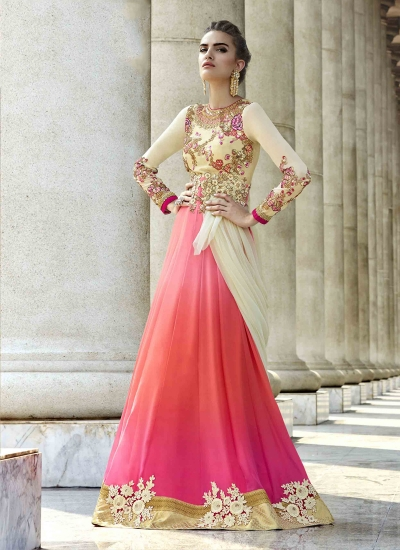 Glorious Georgette Cream and Pink Patch Border Work A Line Lehenga Choli