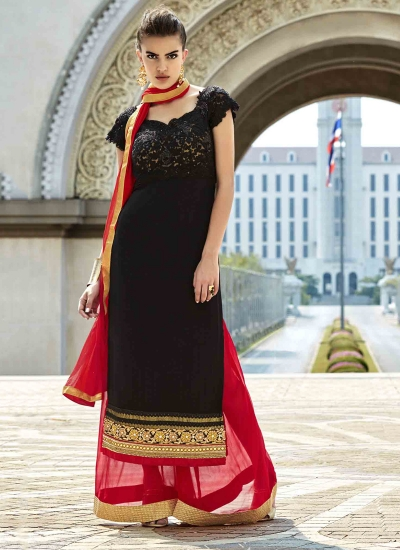 Best Black Resham Work Designer Suit