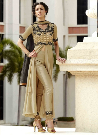 Beige Georgette Designer Suit