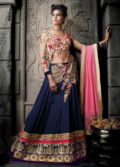 Navy blue and pink georgette hand work wedding lehenga