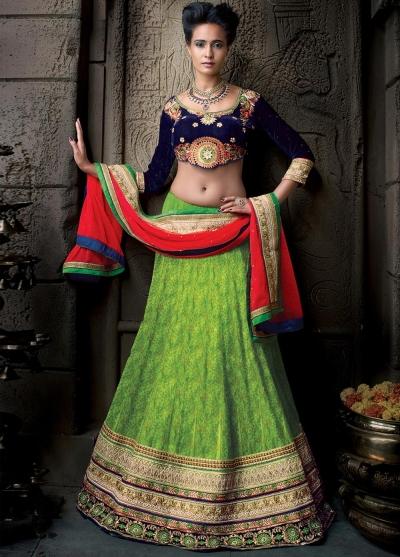 Parrot green pure jacquard banarasi silk designer wedding lehenga