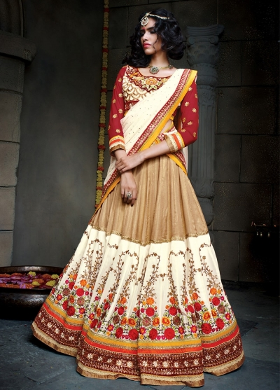 Brown and cream color satin designer wedding lehenga