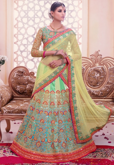 Aqua blue and green color silk wedding lehenga