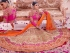 Beige pink and orange color silk wedding lehenga