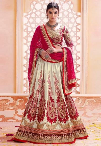 Cream and red color art silk wedding lehenga