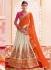 Cream orange and pink color art silk wedding lehenga
