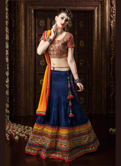 Astounding Navy Blue Patch Border Work Banarasi Silk A Line Lehenga Choli