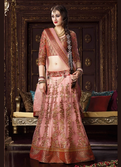 Impressive Pink Patch Border Work A Line Lehenga Choli