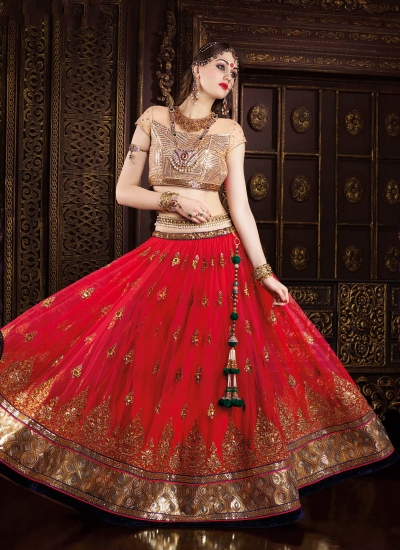 Dignified Net Red Embroidered Work A Line Lehenga Choli