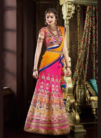 Enchanting Net Hot Pink A Line Lehenga Choli