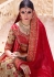 Beige and red color silk  wedding lehenga