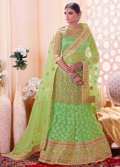 Fresh green color art silk wedding lehenga