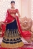 Navy blue and red color georgette wedding lehenga