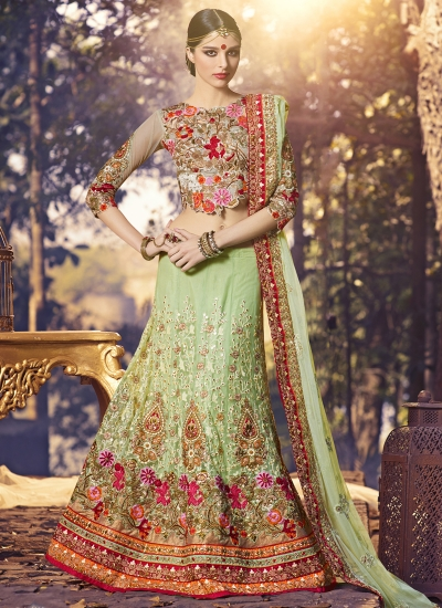 Brilliant Net Sea Green A Line Lehenga Choli