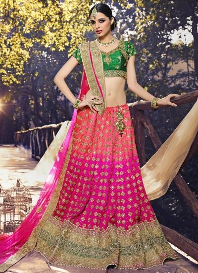 Astonishing Net Hot Pink A Line Lehenga Choli