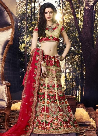 Glossy Art Silk Red Zari Work A Line Lehenga Choli