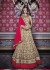 Beige and red color netted party wear anarkali suit