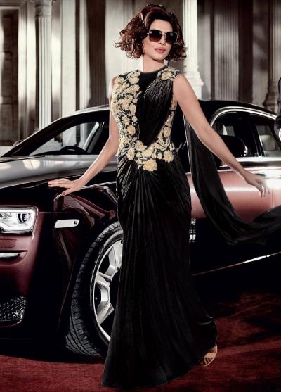 Priyanka Chopra Black Color Lycra Saree Style Gown