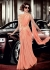 Priyanka Chopra dark peach color lycra saree style gown