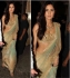 Katrina Kaif cream and blue colour sequins and netted bollywood saree