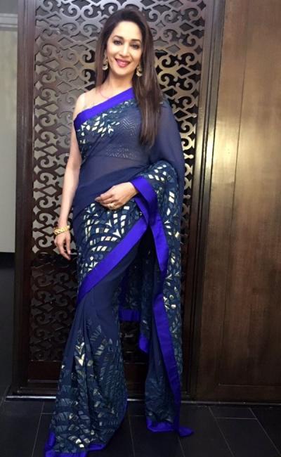 Madhuri dixit deep blue colour georgette bollywood saree