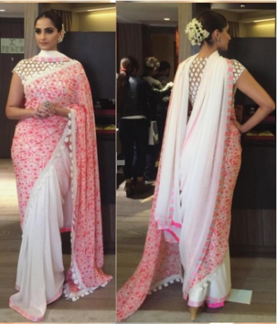 Sonam kapoor white and pink georgette bollywood saree