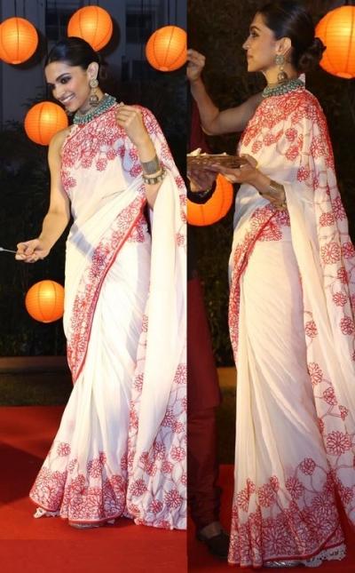 Deepika padukone white and pink satin silk georgette bollywood saree