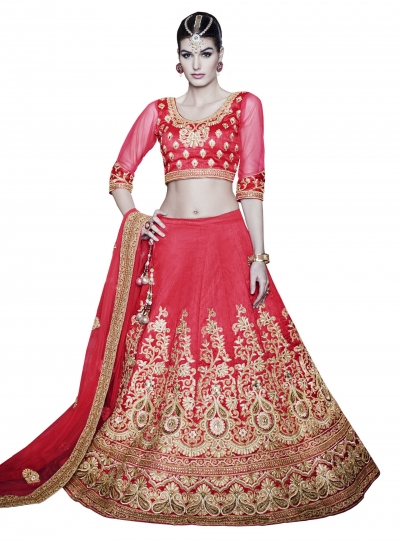 Angelic Net Red Patch Border Work A Line Lehenga Choli