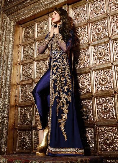 Malaika Arora Khan Resham Work Navy Blue Designer Suit