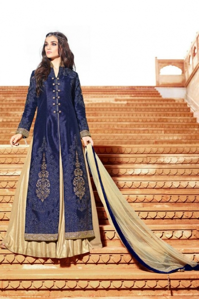 Dark blue and cream color silk party wear anarkali suit