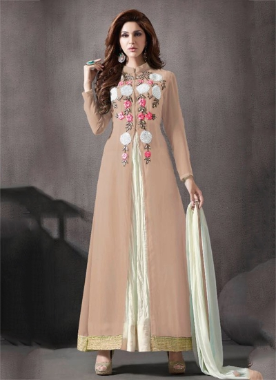 Beige color georgette palazzo party wear anarkali suit