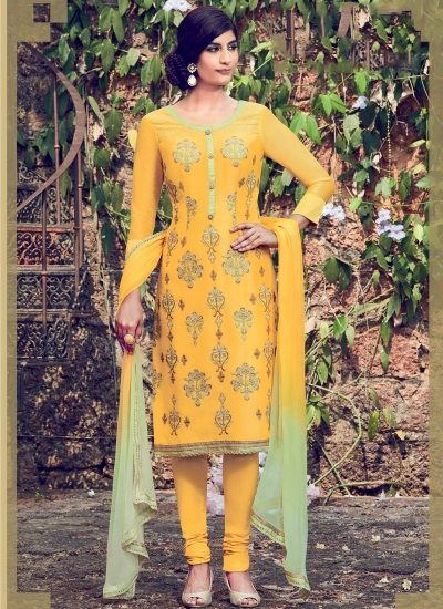 Yellow color cotton and satin casual wear straight cut salwar kameez