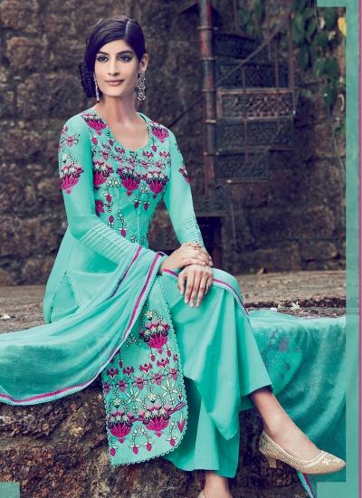 Firozi color cotton casual wear straight cut salwar kameez