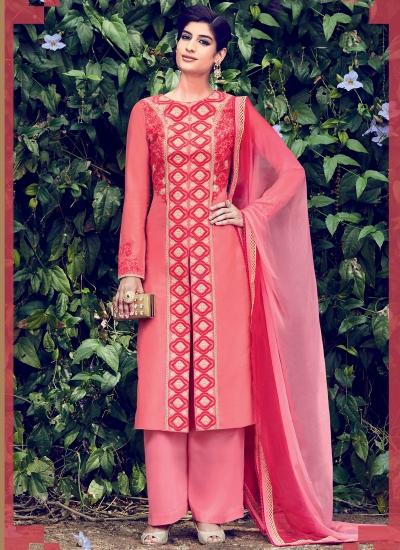 Gajri color cotton casual wear straight cut salwar kameez