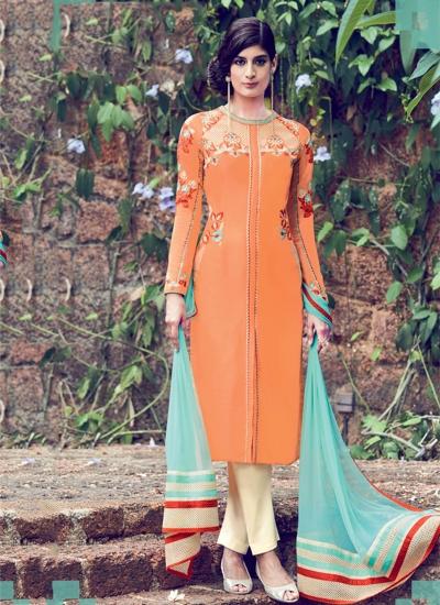 Orange color cotton casual wear straight cut salwar kameez