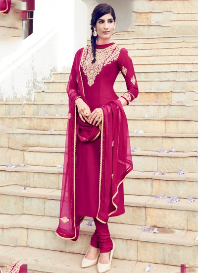 Magenta color cotton casual wear straight cut salwar kameez