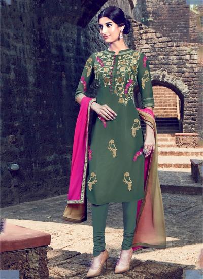 Mehandi color cotton casual wear straight cut salwar kameez