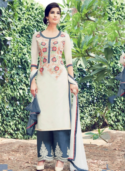 Cream color cotton casual wear straight cut salwar kameez