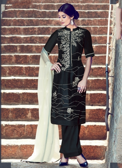 Black and cream color cotton casual wear straight cut salwar kameez