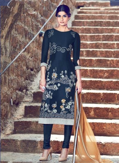 Dark blue color cotton casual wear straight cut salwar kameez