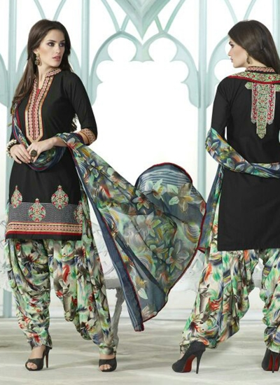 Black color embroidered patiala casual wear salwar kameez