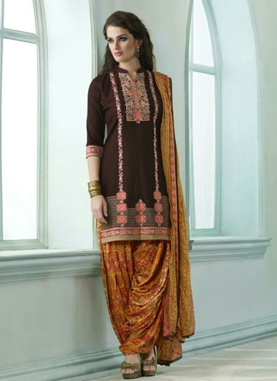 Brown color embroidered patiala casual wear salwar kameez