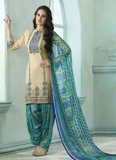 Beige color embroidered patiala casual wear salwar kameez