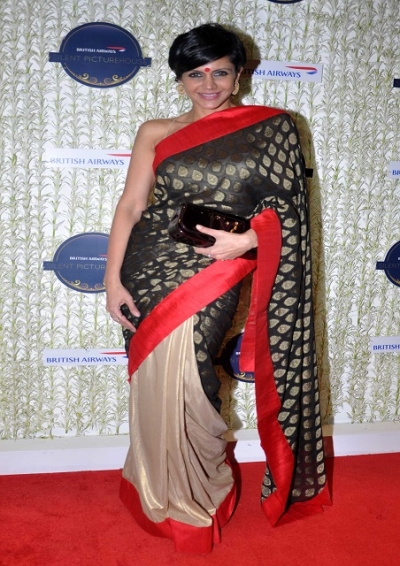 Mandira Bedi half half saree