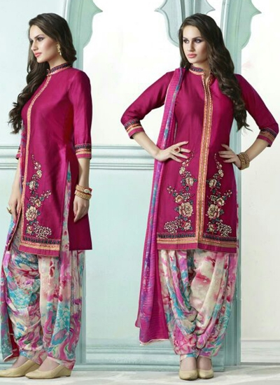 Dark pink color embroidered patiala casual wear salwar kameez