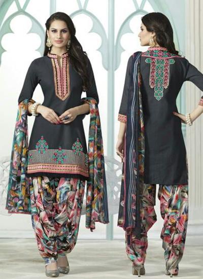 Grey color embroidered patiala casual wear salwar kameez